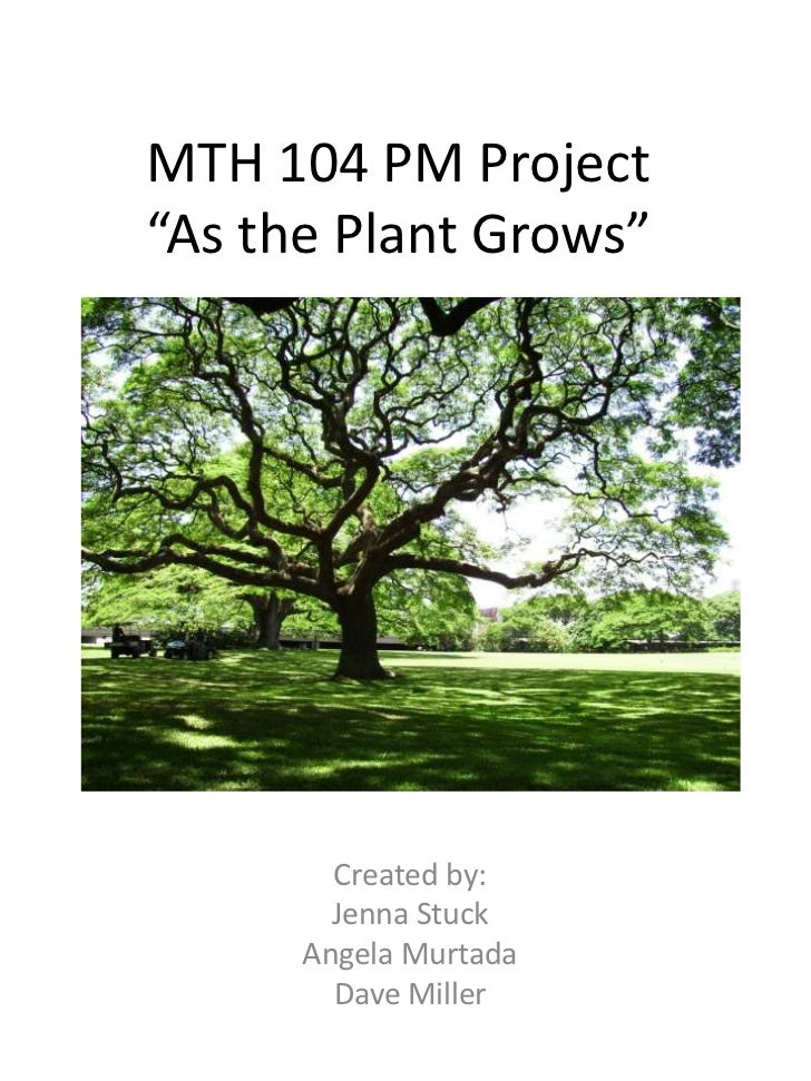 "MTH 104 PM Project""As the Plant Grows""<br />Created by:<br />Jenna Stuck<br />Angela Murtada<br />Dave Miller<br />"