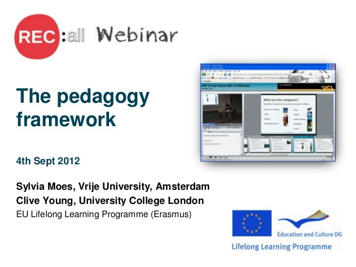 The pedagogyframework4th Sept 2012Sylvia Moes, Vrije University, AmsterdamClive Young, University College LondonEU Lifelon...