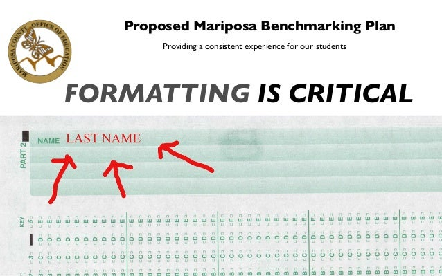 Proposed Mariposa Benchmarking Plan Providing a consistent experience for our students FORMATTING IS CRITICAL