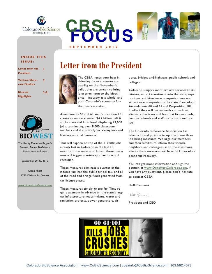 September Newsletter - Colorado BioScience Association
