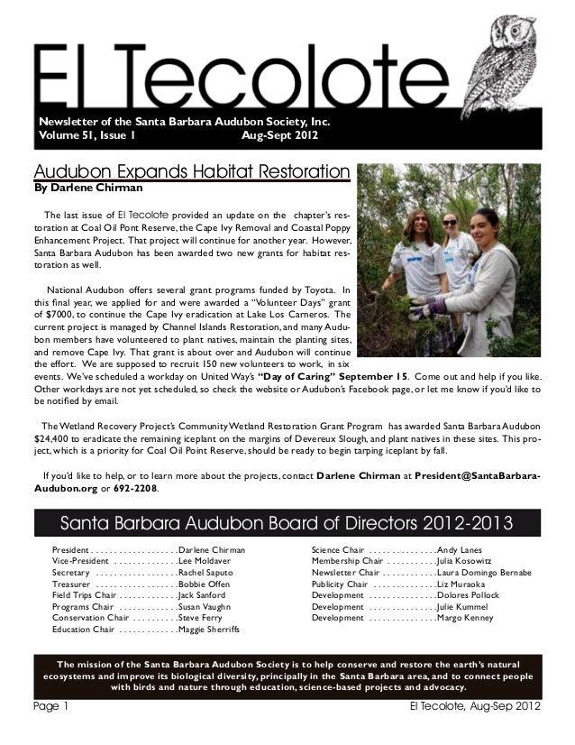El Tecolote, Aug-Sep 2012Page 1 Santa Barbara Audubon Board of Directors 2012-2013 President . .  .  .  .  .  .  .  .  .  ...