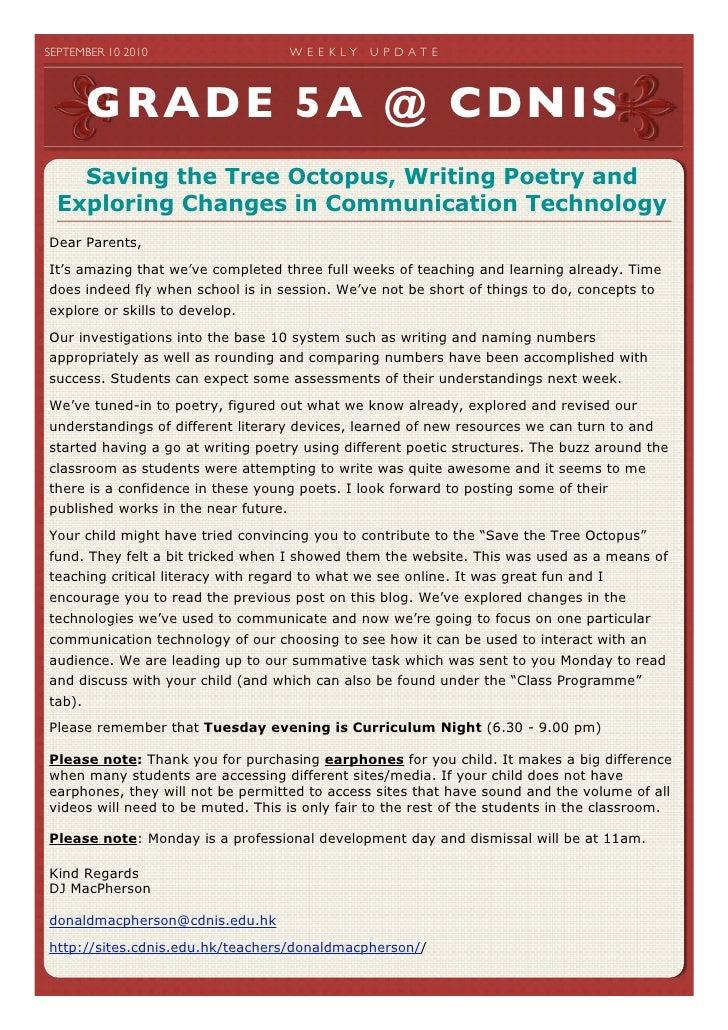 SEPTEMBER 10 2010                  W E E K LY   U P D A T E              GRADE 5A @ CDNIS     Saving the Tree Octopus, W...