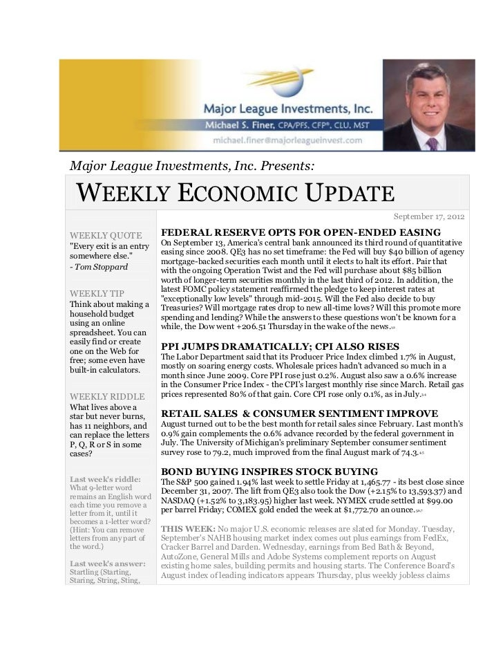 September 17 2012 weekly economic update major league investments