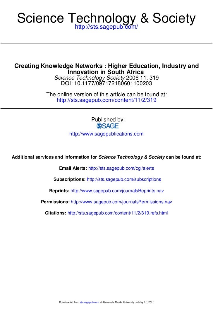 Science Technology & Society           http://sts.sagepub.com/ Creating Knowledge Networks : Higher Education, Industry an...