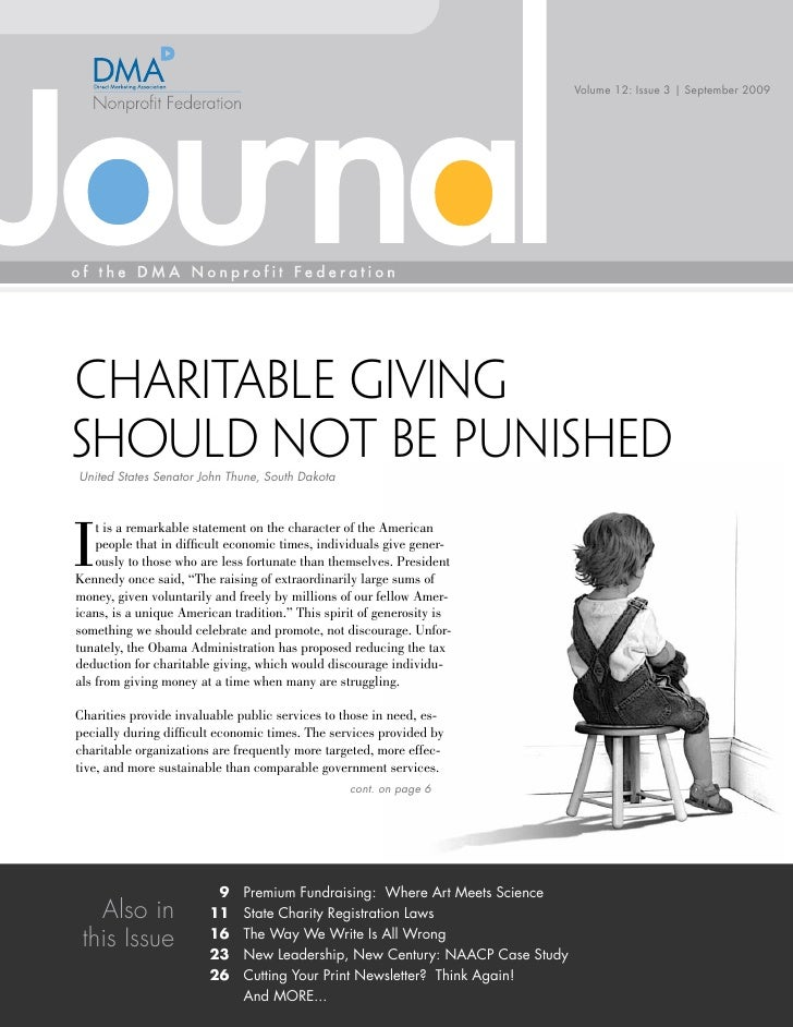 Volume 12: Issue 3 | September 2009     Charitable Giving Should not be Punished United States Senator John Thune, South D...