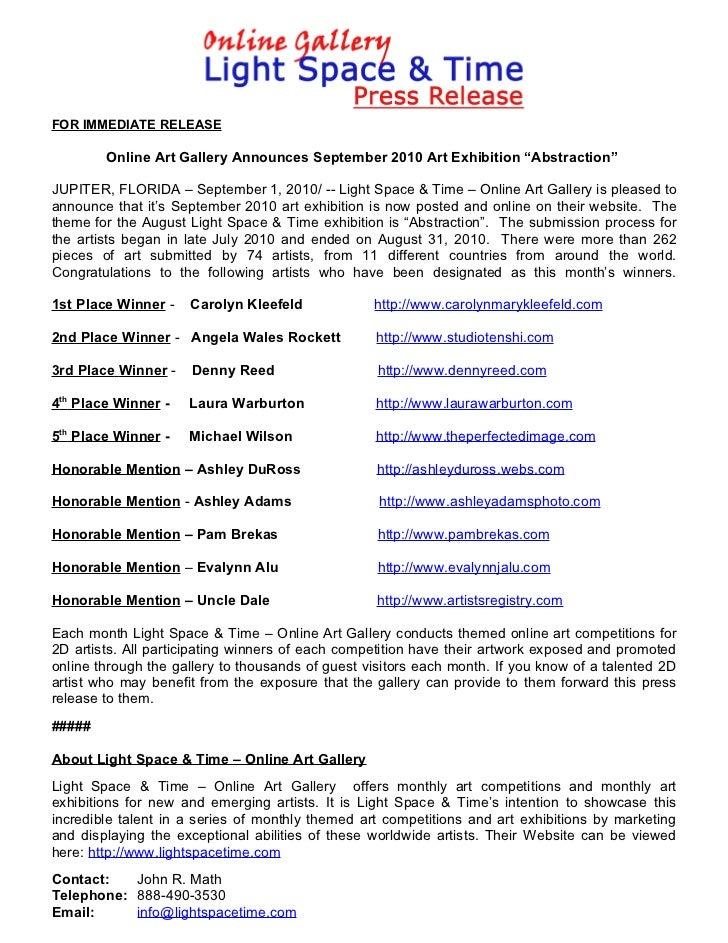 "FOR IMMEDIATE RELEASE        Online Art Gallery Announces September 2010 Art Exhibition ""Abstraction""JUPITER, FLORIDA – Se..."