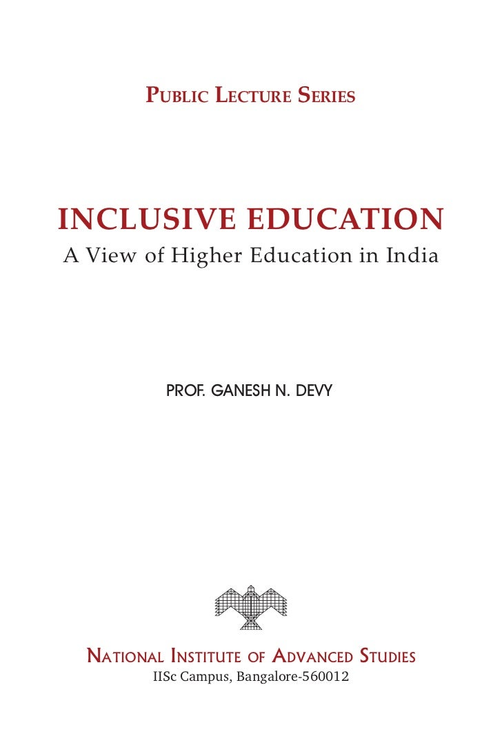 inclusive education  a view of higher education in india