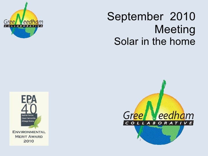 September  2010 Meeting Solar in the home