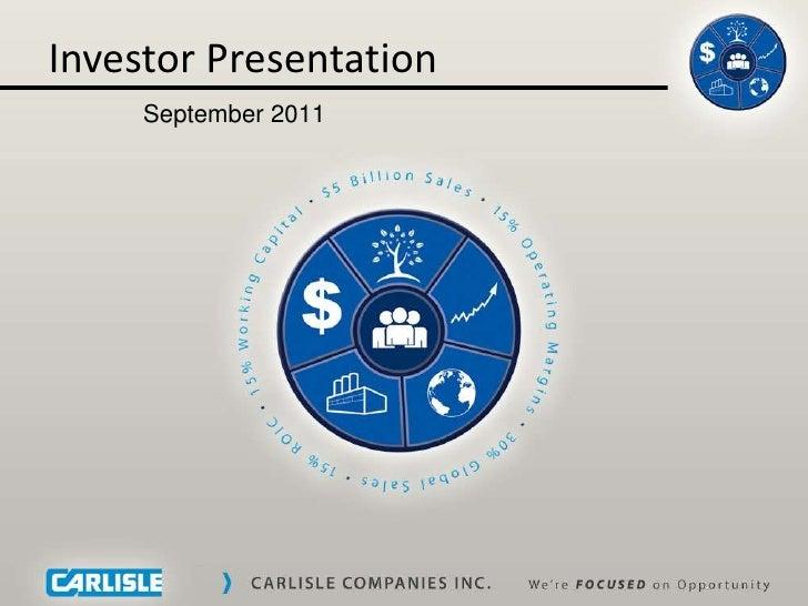 September 2011 investor presentation