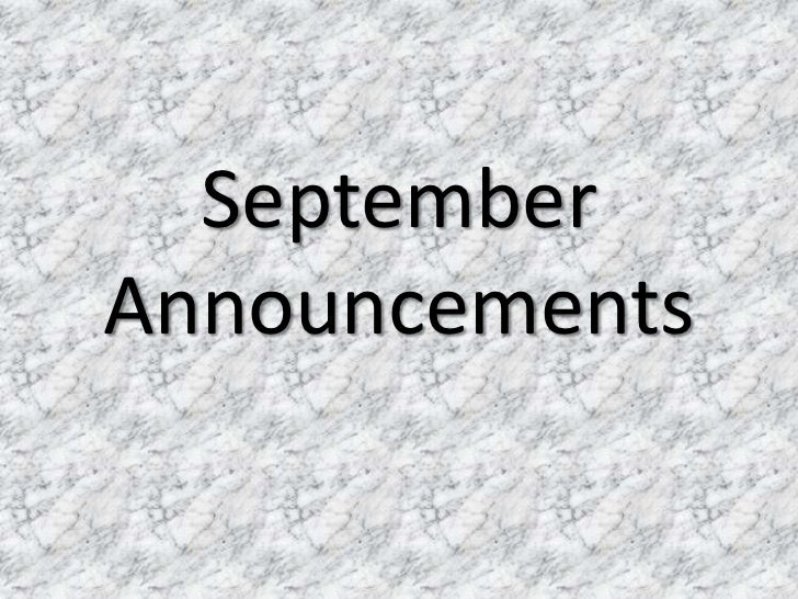 September 2012 announcements