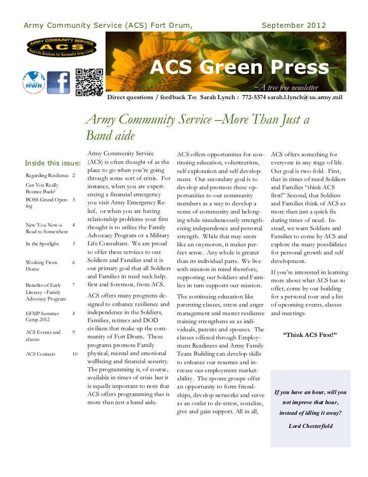 Army Community Service (ACS) Fort Drum,                                                         September 2012            ...