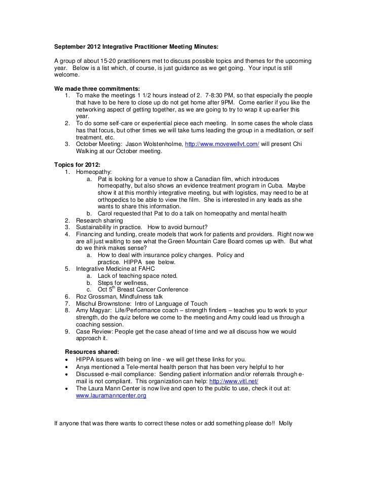 September 2012 integrative practitioner meeting minutes