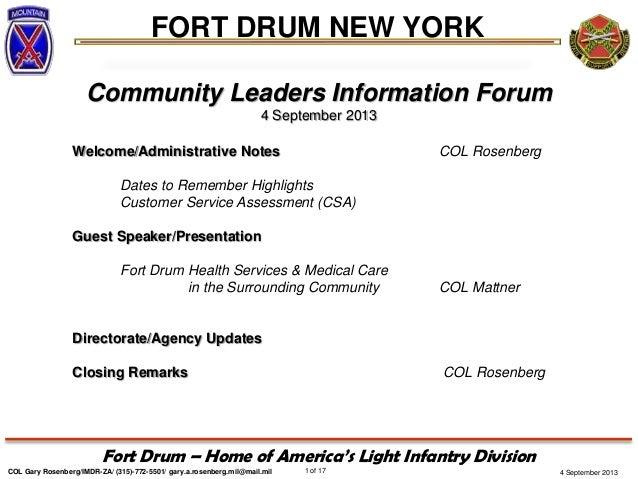 4 September 2013 FORT DRUM NEW YORK COL Gary Rosenberg/IMDR-ZA/ (315)-772-5501/ gary.a.rosenberg.mil@mail.mil 1 of 17 Fort...