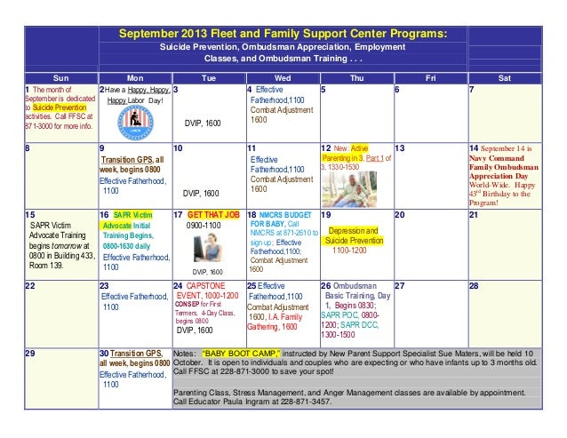 September 2013 Fleet and Family Support Center Programs: Suicide Prevention, Ombudsman Appreciation, Employment Classes, a...