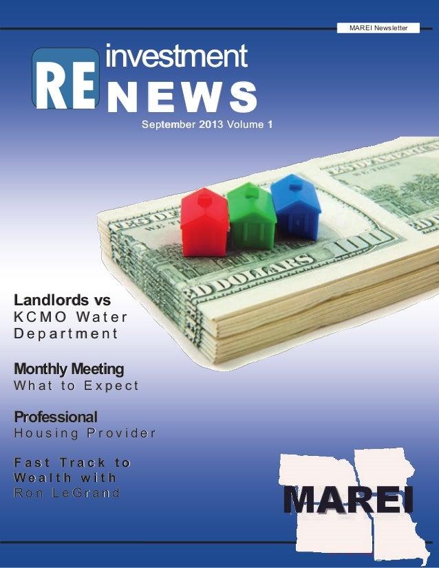 2013 RE investment News RE investmentinvestmentinvestment NEWSNEWSNEWSSeptember 2013 Volume 1September 2013 Volume 1Septem...