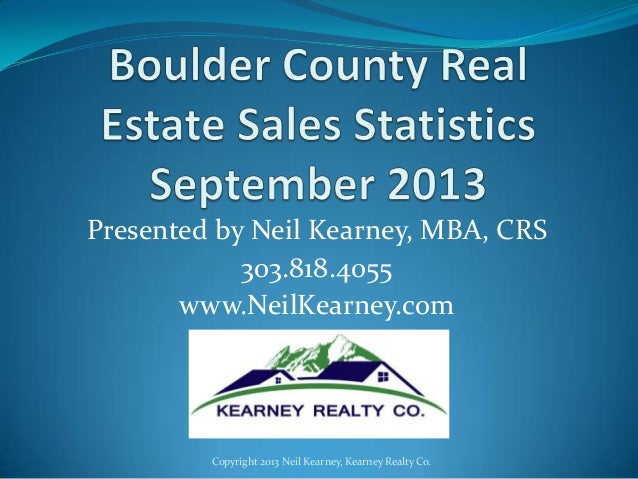 Boulder County Real Estate Statistics - September 2013