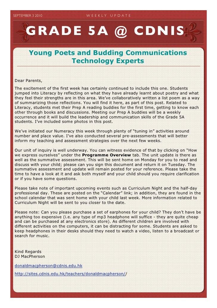 SEPTEMBER 3 2010                   W E E K LY   U P D A T E             GRADE 5A @ CDNIS          Young Poets and Buddin...