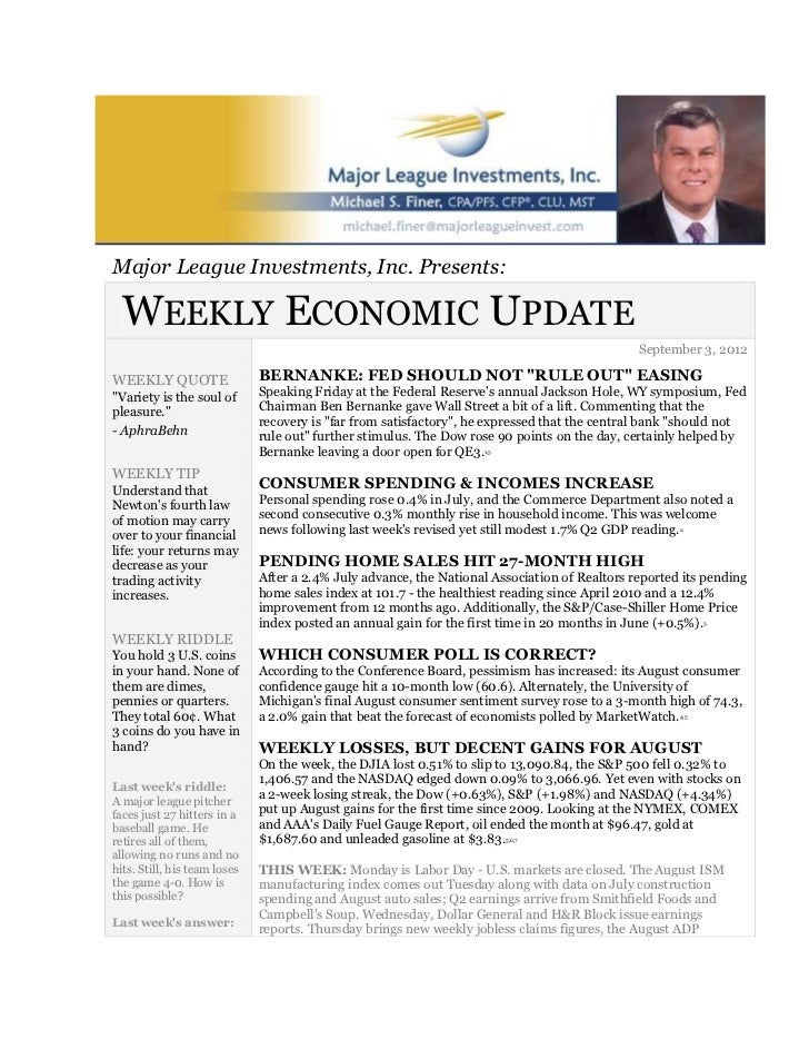 September 3, 2012 weekly economic update major league investments