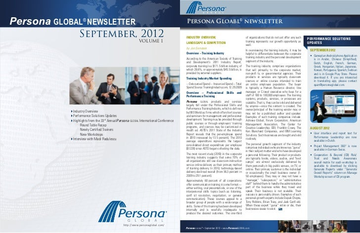 Issue 1, September 19, 2012Persona GLOBAL® NEWSLETTER                                                            Persona G...