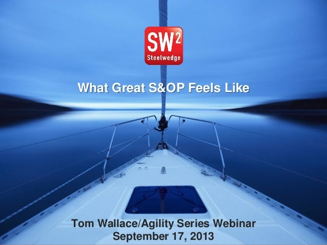 EXECUTIVE S&OP by Tom Wallace WWW.TFWALLACE.COM Tom Wallace/Agility Series Webinar September 17, 2013 What Great S&OP Feel...