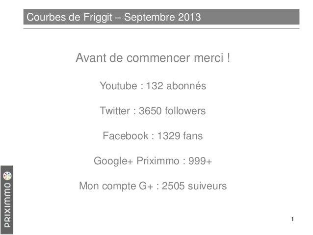 Courbes de Friggit – Septembre 2013  Avant de commencer merci ! Youtube : 132 abonnés  Twitter : 3650 followers Facebook :...