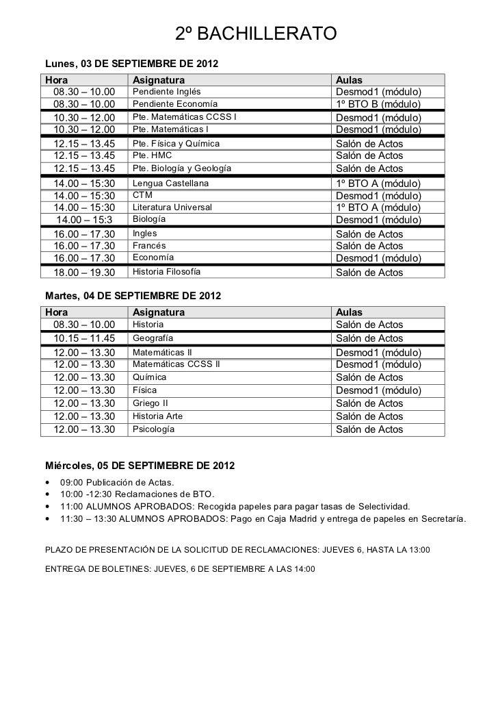 Septiembre por niveles 2012