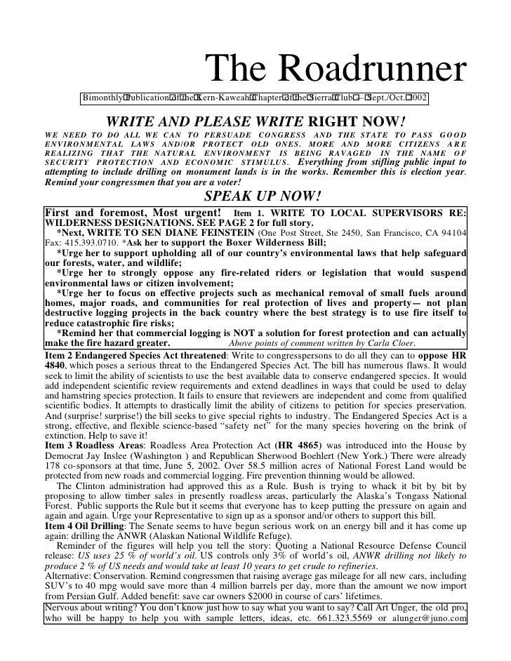 September-October 2002 Roadrunner Newsletter, Kern-Kaweah Sierrra Club
