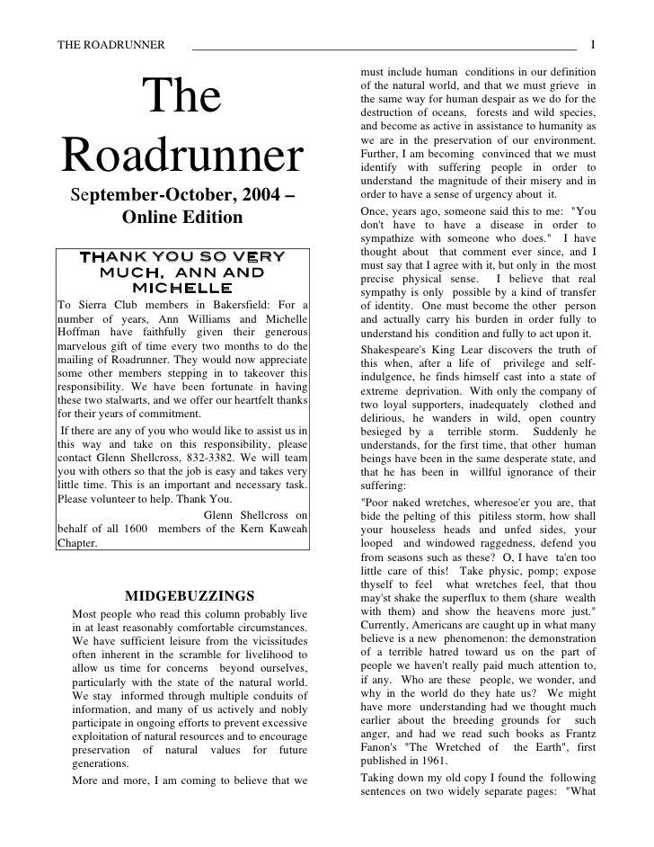 September-October 2004 Roadrunner Newsletter, Kern-Kaweah Sierrra Club