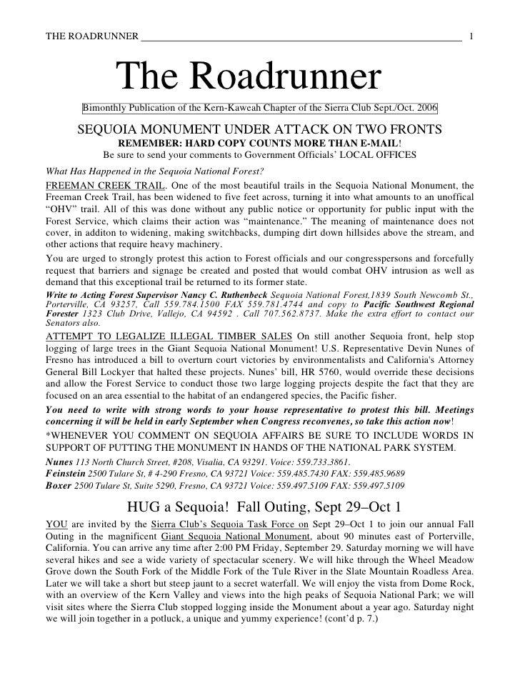 September-October 2006 Roadrunner Newsletter, Kern-Kaweah Sierrra Club