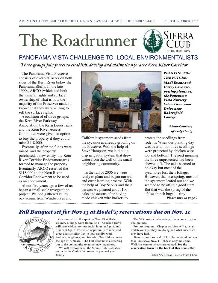 September-October 2010 Roadrunner Newsletter, Kern-Kaweah Sierrra Club
