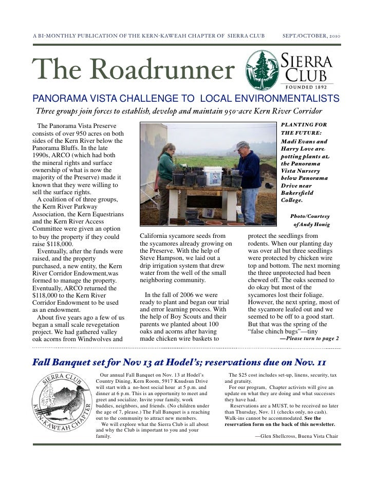 September-October 2010 Roadrunner Newsletter, Kern-Kaweah Sierrra Club