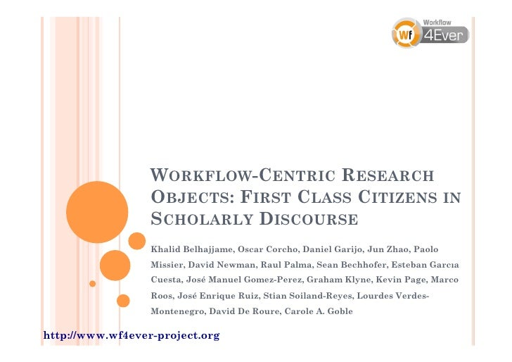 WORKFLOW-CENTRIC RESEARCH                  OBJECTS: FIRST CLASS CITIZENS IN                  SCHOLARLY DISCOURSE          ...