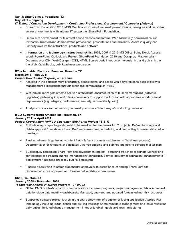 houston writers professional resume