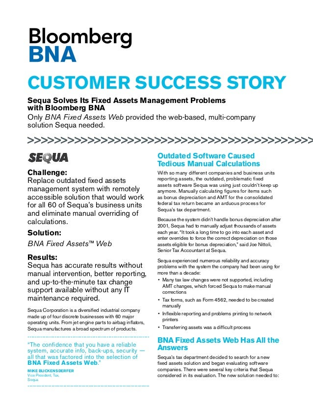 Sequa Selects BNA Fixed Asset software from Bloomberg BNA as Their Fixed Asset & Depreciation Management Software