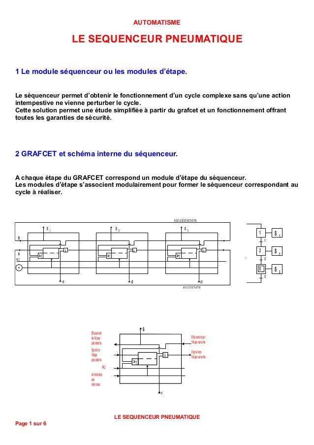 AUTOMATISME                                LE SEQUENCEUR PNEUMATIQUE1 Le module séquenceur ou les modules d'étape.Le séque...