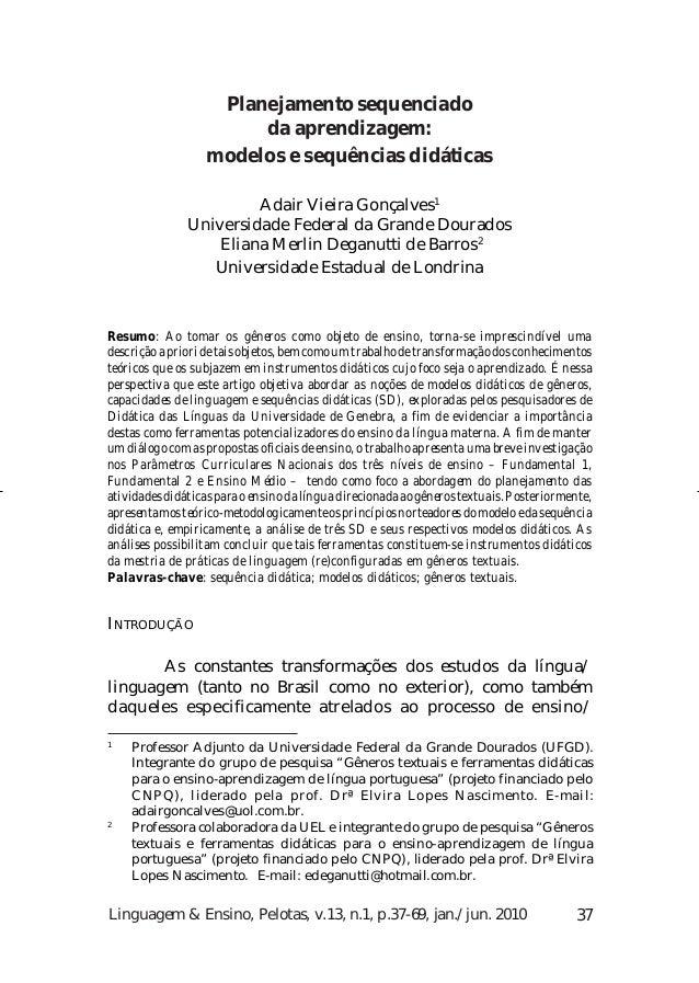Adair Vieira Gonçalves e Eliana Merlin Deganutti de Barros                    Planejamento sequenciado                    ...