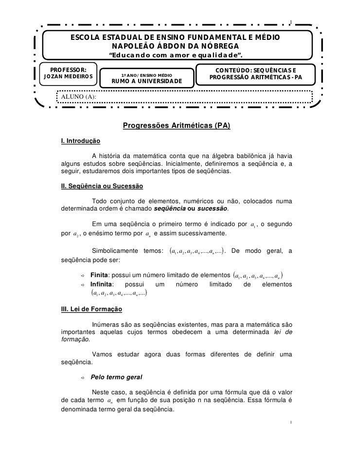 """1         ESCOLA ESTADUAL DE ENSINO FUNDAMENTAL E MÉDIO                 NAPOLEÃO ÁBDON DA NÓBREGA                     """"Edu..."""