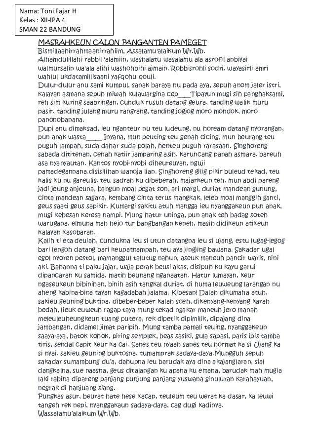 Nama: Toni Fajar HKelas : XII-IPA 4SMAN 22 BANDUNG     MASRAHKEUN CALON PANGANTEN PAMEGET     Bismillaahirrahmaanirrahiim,...