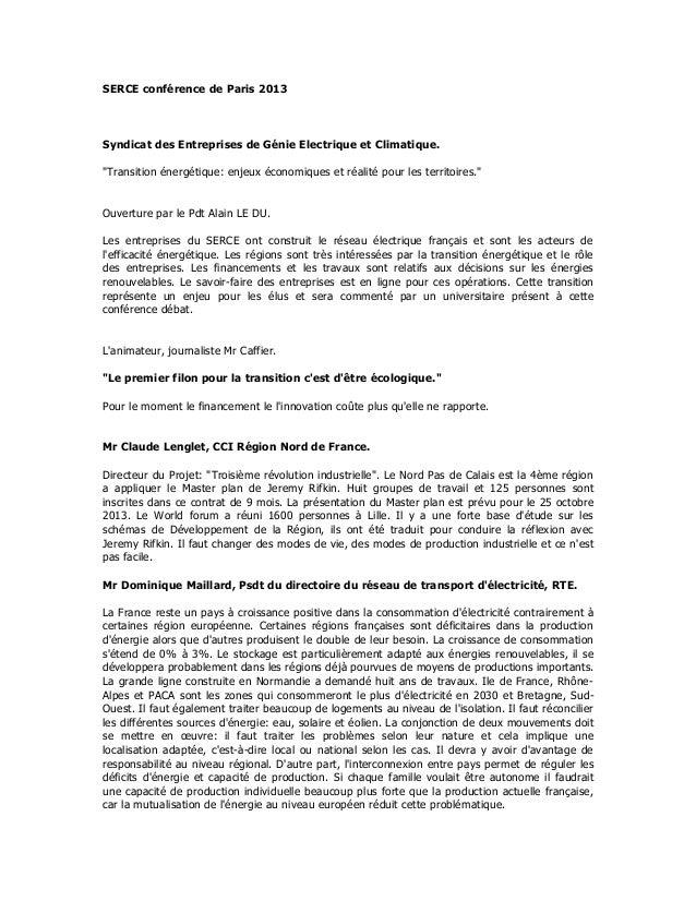 """SERCE conférence de Paris 2013Syndicat des Entreprises de Génie Electrique et Climatique.""""Transition énergétique: enjeux é..."""