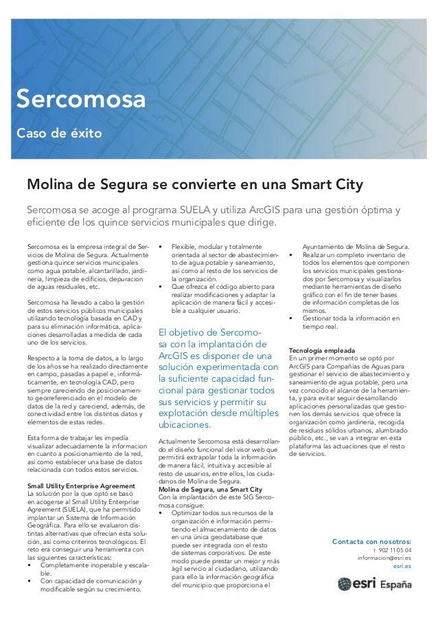 Sercomosa Caso de éxito  Molina de Segura se convierte en una Smart City Sercomosa se acoge al programa SUELA y utiliza Ar...