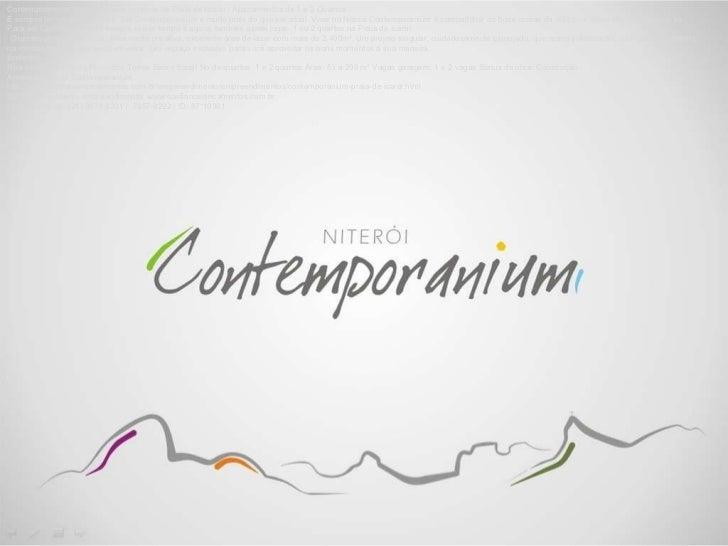 CONTEMPORANIUM (21) 3073-3201 LANÇAMENTO NITERÓI PRAIA