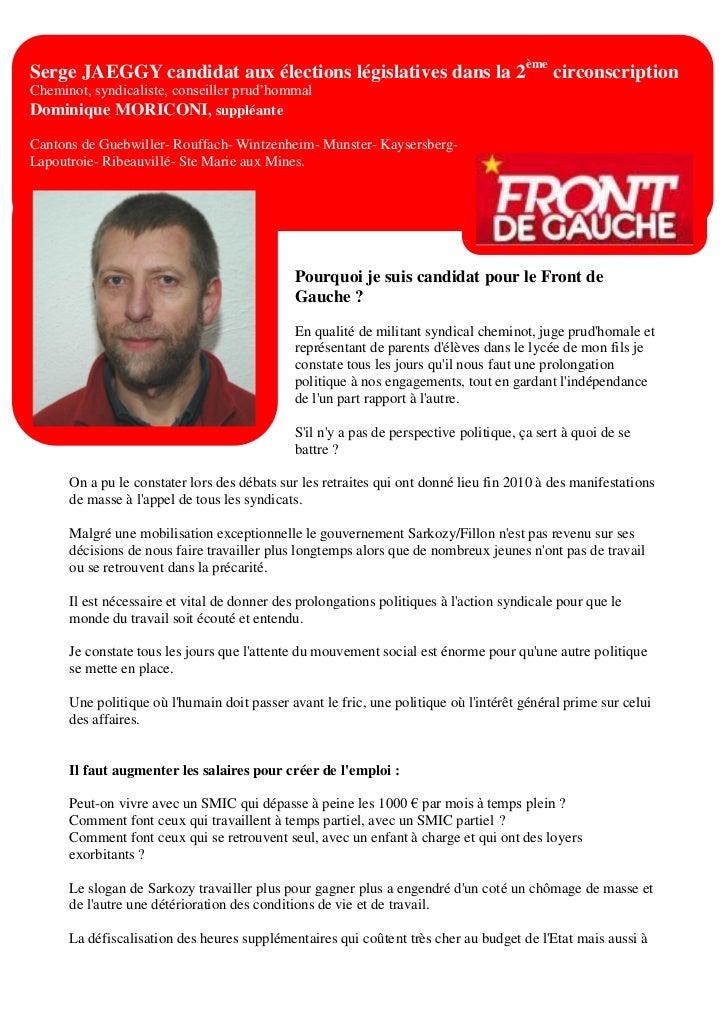Serge JAEGGY candidat aux élections législatives dans la 2ème circonscriptionCheminot, syndicaliste, conseiller prud'homma...