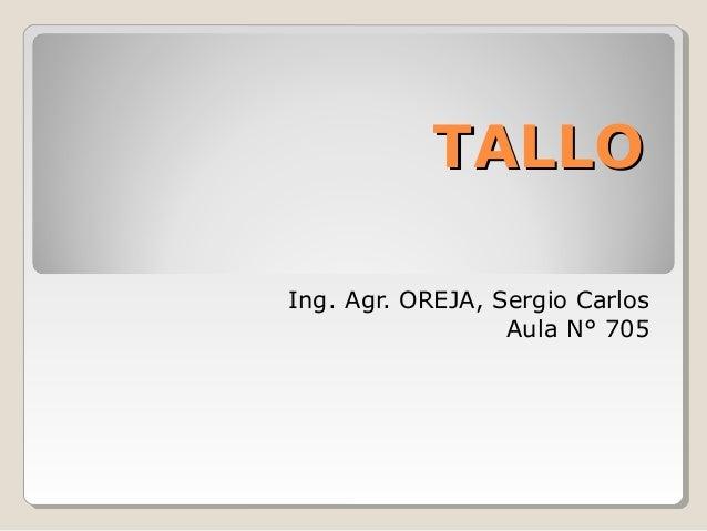 TALLO Ing. Agr. OREJA, Sergio Carlos Aula N° 705
