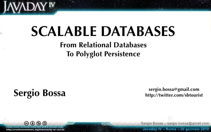SCALABLE DATABASES           From Relational Databases             To Polyglot Persistence                                ...