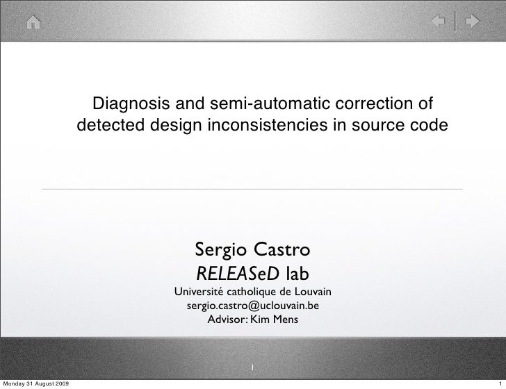 Diagnosis and semi-automatic correction of detected design inconsistencies in source code