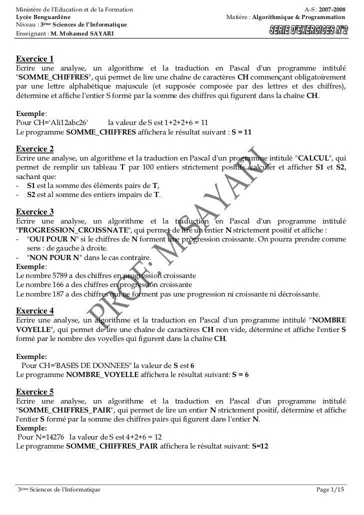 Ministère de l'Education et de la Formation                                               A-S : 2007-2008Lycée Benguardène...