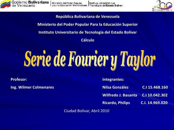 República Bolivariana de Venezuela<br />Ministerio del Poder Popular Para la Educación Superior <br />Instituto Universita...