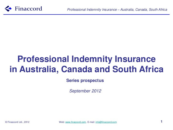 Professional Indemnity Insurance – Australia, Canada, South Africa     Professional Indemnity Insurance   in Australia, Ca...