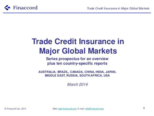 Trade Credit Insurance in Major Global Markets