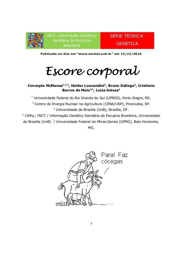 """1 Publicado on-line em """"www.animal.unb.br"""" em 12/12/2010 Escore corporalEscore corporalEscore corporalEscore corporal Conc..."""